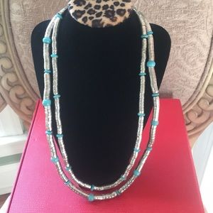 Blue Turquoise Bead Silver Double Strand Necklace